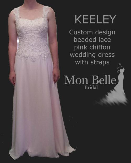 KEELEY custom design beaded lace pink chiffon wedding dress with straps