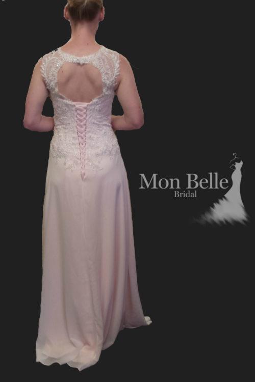 KEELEY key hole lace up pink wedding dress