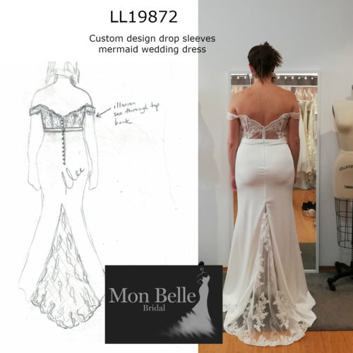 ROSYLN custom design drop sleeves mermaid wedding dress LL19872