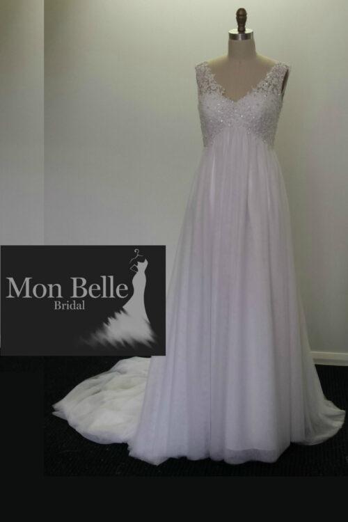 DEE V-neck beaded lace Maternity Wedding Dress LL17028