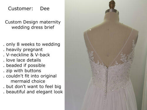 custom design maternity wedding dress for Dee