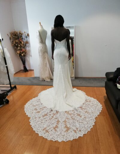 BEATRICE mermaid crepe wedding dress with beaded lace scallop cathedral train
