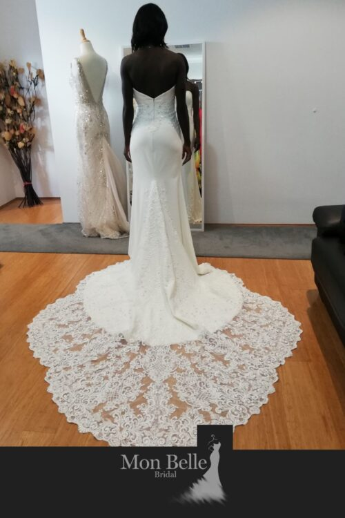 BEATRICE mermaid crepe wedding dress with heavily beaded lace scallop cathedral train