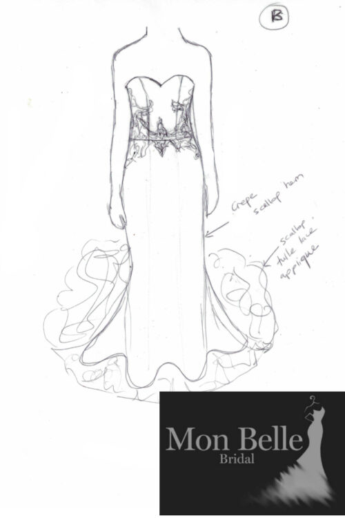 Beatrice custom design wedding dress - sketch B