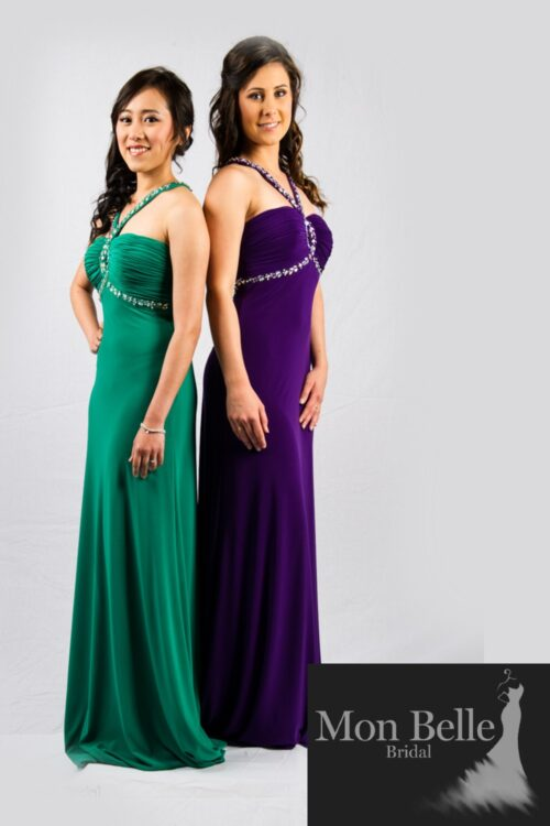 O2339 Beaded halterneck keyhole slimfit jersey evening dress