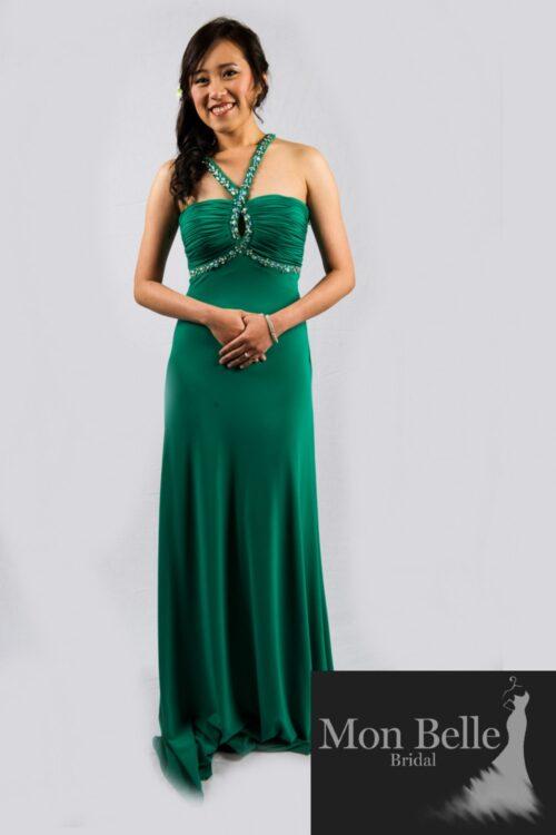 O2339 emerald green halterneck ball dress