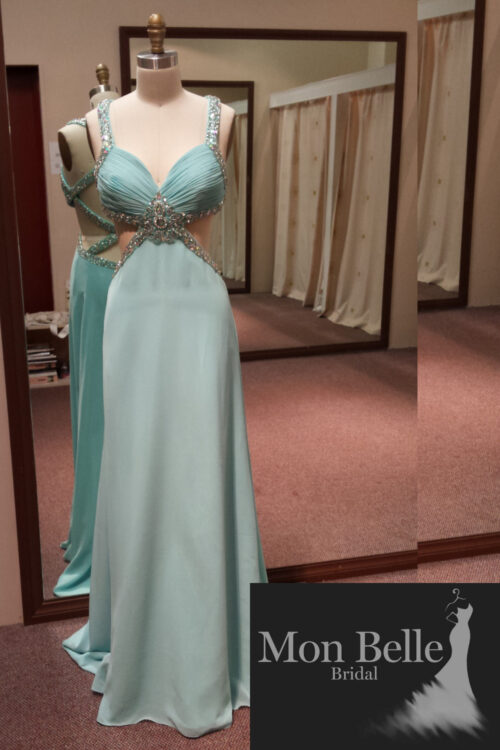 O2097 beaded criss cross back Tiffany evening dress