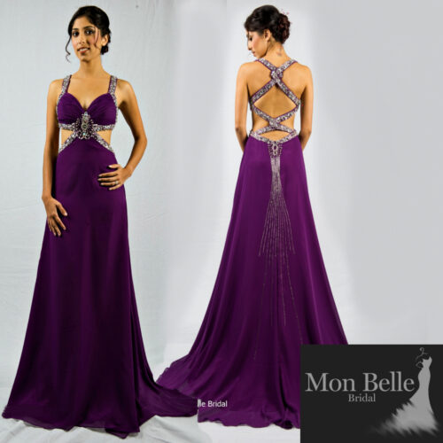 O2097 beaded cut out waist criss cross back purple ball gown