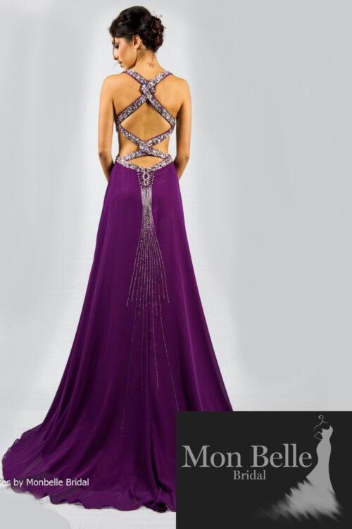 O2097 beaded cutout waist crisscross beaded low back purple evening dresses