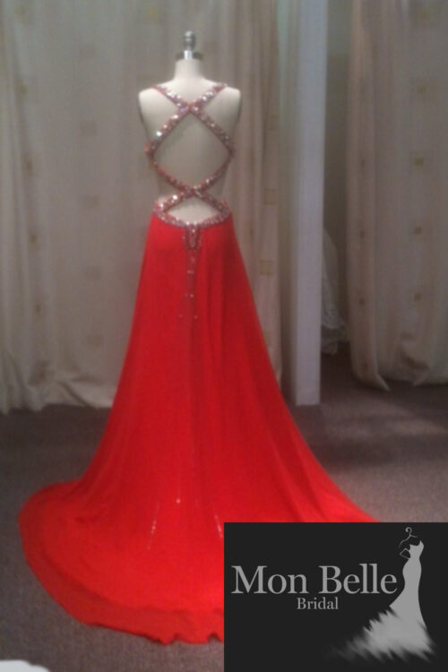 O2097 beaded cutout waist crisscross beaded low back red evening dresses
