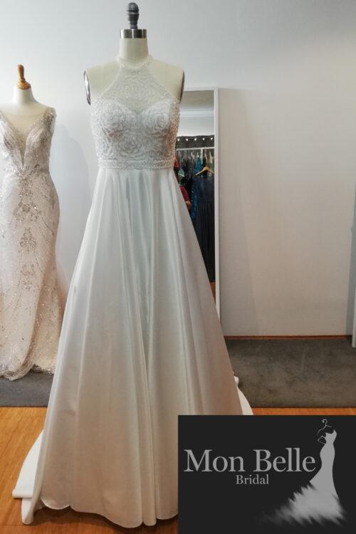 ROSE hand-beaded halter-neck satin skirt wedding dress LL022