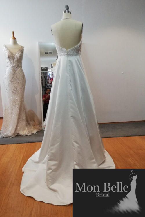 Rose beaded bodice satin skirt with sweep train wedding gown