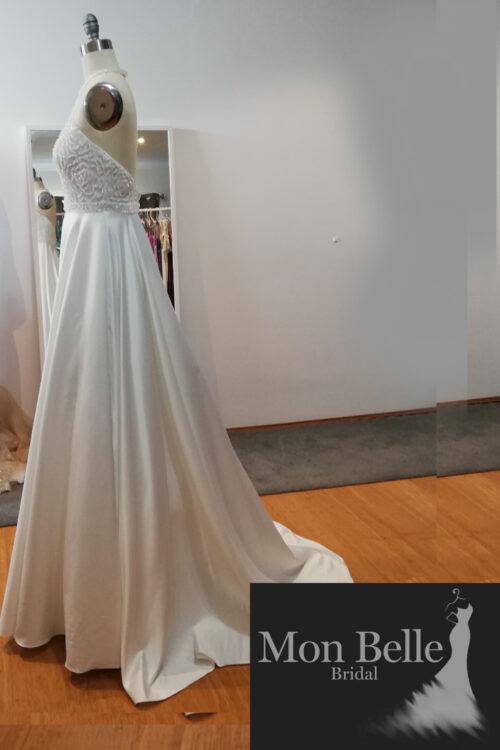 Rose halterneck handbeaded bodice with satin skirt ball gown LL022