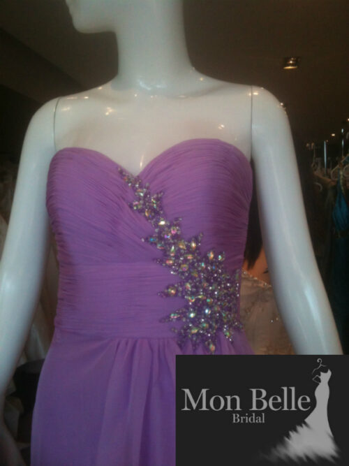 Lilac beaded evening dress O2077