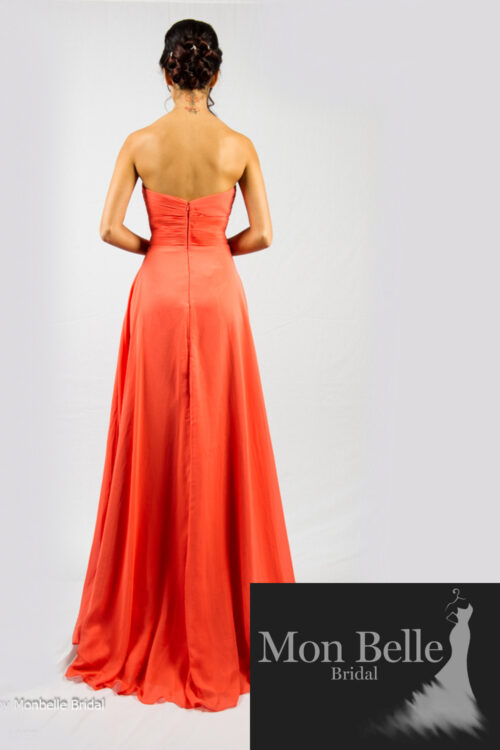 O2077 vibrant coral evening dress